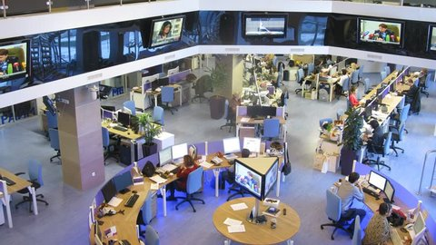 MOSCOW - MAR 05: (timelapse) People in the office working at RIA Novosti, on Mar 05, 2013 in Moscow, Russia.