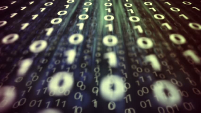 Concept representation of binary code. Binary digits 1 and 0 in different configurations on colorful background.