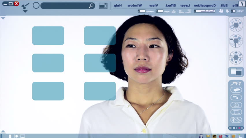 Interactive whiteboard with Chinese woman making a choice to go shopping from her To Do list.