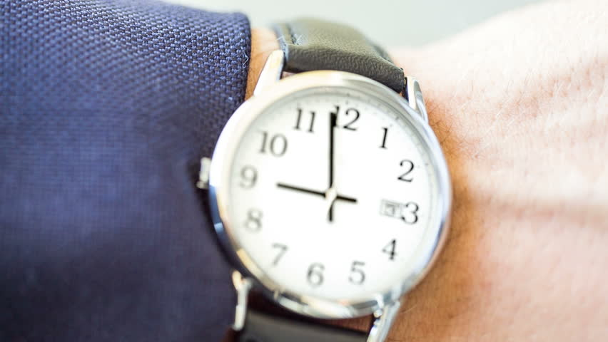 Checking Time at 9:00 AM - Wristwatch in Morning - Nine O'clock on Watch - Man Flipping Wrist