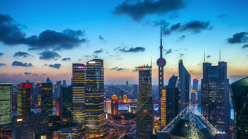 """Time lapse of the modern buildings in Shanghai China viewed from skyscraper of Pudong.- (seamless connection Clip ID: 4348673).   >>> Please search similar: """" ShanghaiSkyline """" ."""