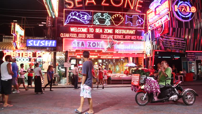 PATTAYA, THAILAND - FEBRUARY 20: Walking Street after Valentin's Day on February