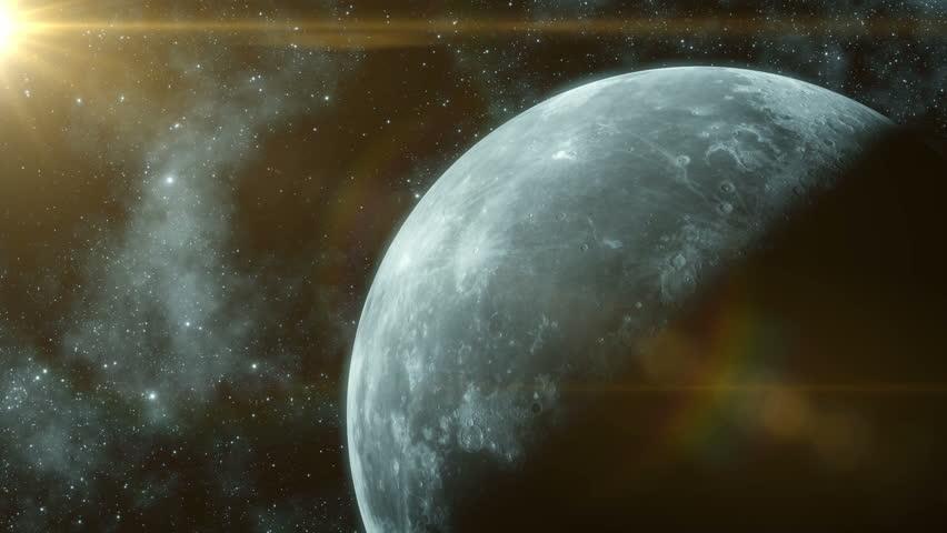 Rotation of the moon in space. Sun illuminates the moon.