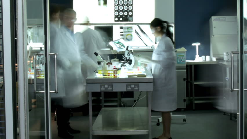 Time lapse of a diverse team of researchers working in a laboratory facility. Could be a forensics science team, medical research or students at a university or college.
