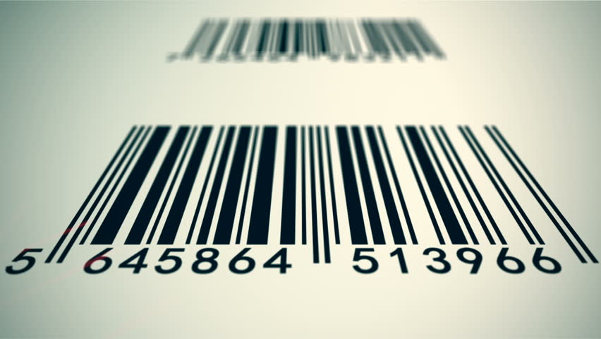 Loopable animation illustrates an array of EAN barcodes being scanned by barcode scanner on a white background. | Shutterstock HD Video #4363880