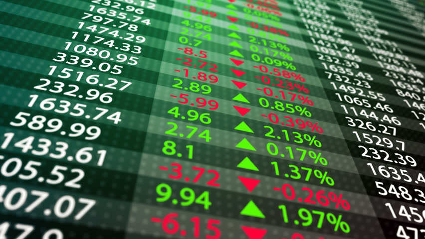 Stock market board on a green background. May represent stock exchange, stock market indices or high frequency trading. | Shutterstock HD Video #4407965