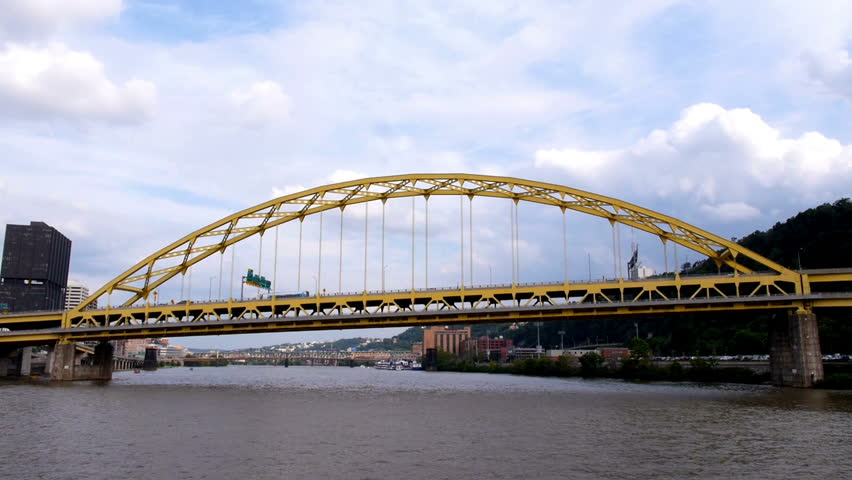 Traveling under the Fort Pitt Bridge over the Monongahela River in downtown