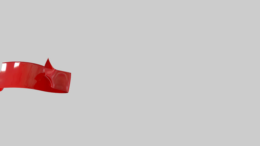 A highly glossy red banner ribbon animating in from left to right onto a light screen with an alpha channel