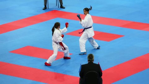 MOSCOW - JUN 9: Female karatekas fight during 10th Team Championship of Europe on karate at Olympic Complex Luzhniki, Small sports arena on 9 June 2012, Moscow, Russia.