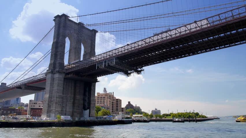The Brooklyn Bridge over New York's East River.