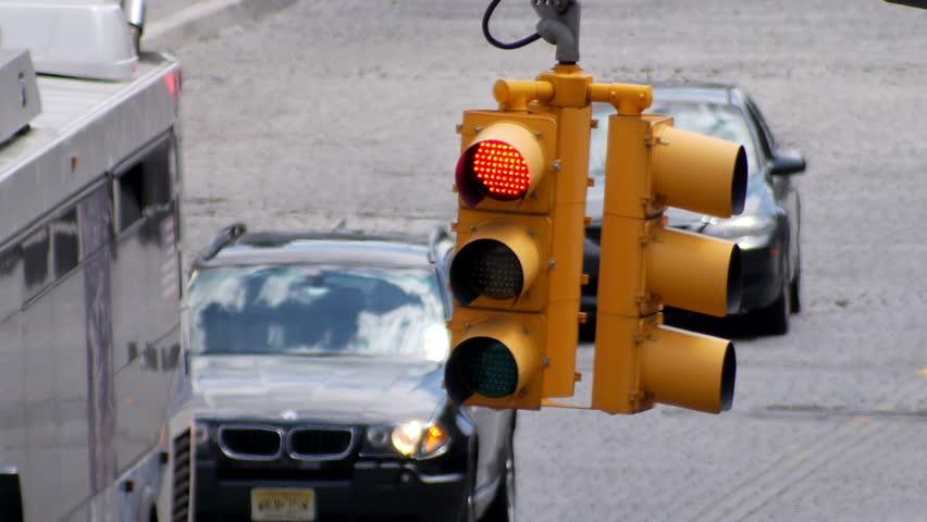 A traffic light in Manhattan.