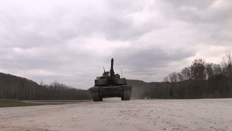 Military, Tank drives over camera