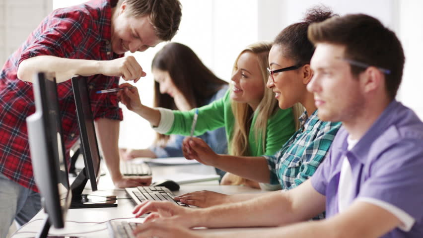 education and school - students in computer class | Shutterstock Video #4507691