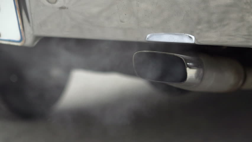 Exhaust smoke from muffler slow motion #4519880