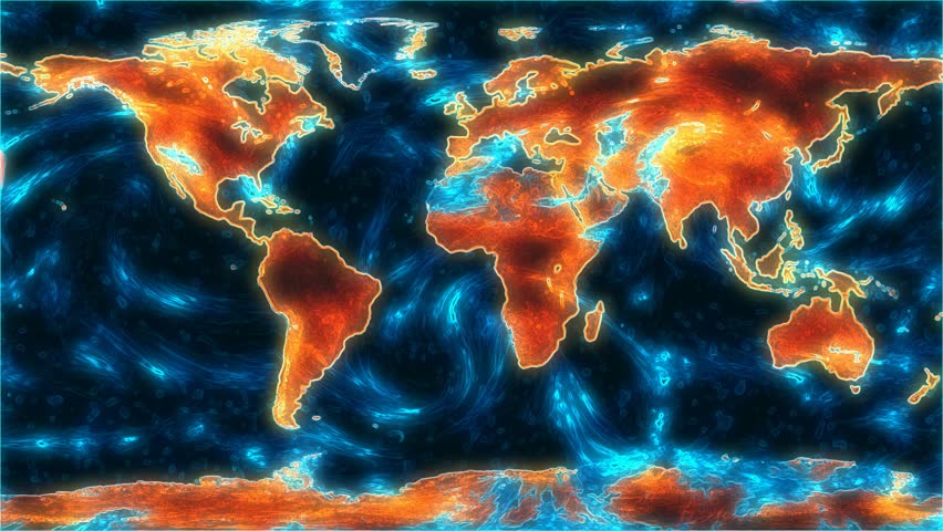 A representational or scientific sci-fi map of Earth, with ocean currents or cloud movement. Earth images courtesy of NASA http://visibleearth.nasa.gov/