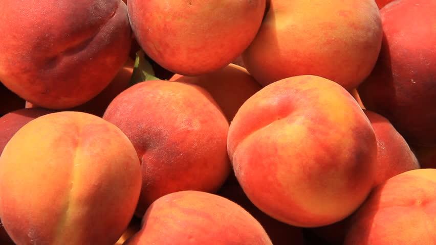 Peach Basket 1. Freshly picked ripe peaches in a basket. | Shutterstock HD Video #4532573