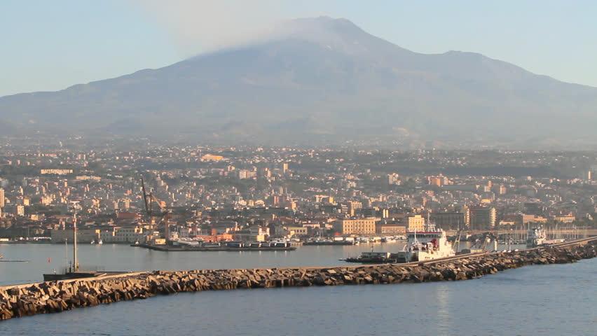 City and volcano. Etna, Catania, Sicily, Italy