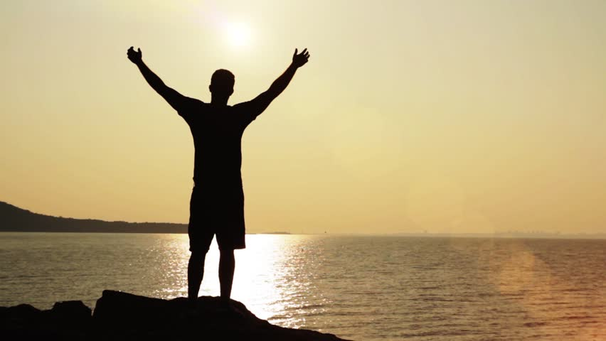 Victory Pose Man On Top of Cliffs Vacation Holiday Concept HD | Shutterstock HD Video #4540640