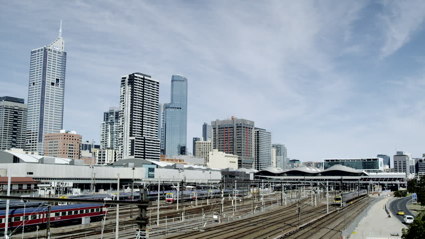 Melbourne - Train Traffic and view towards Southern Cross Train Station | Shutterstock HD Video #4544000