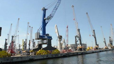 WARNEMUENDE, GERMANY – AUGUST 02: Liebherr crane manufacturing factory in Rostock sea port. . Located at Warnemuende on August 02, 2013