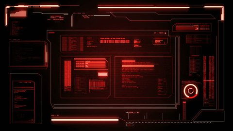 "Futuristic computer interface. Possibility to loop. Available in black, blue, green and red all on the same clip. The video starts by a loading status bar and the text ""Incoming message""."