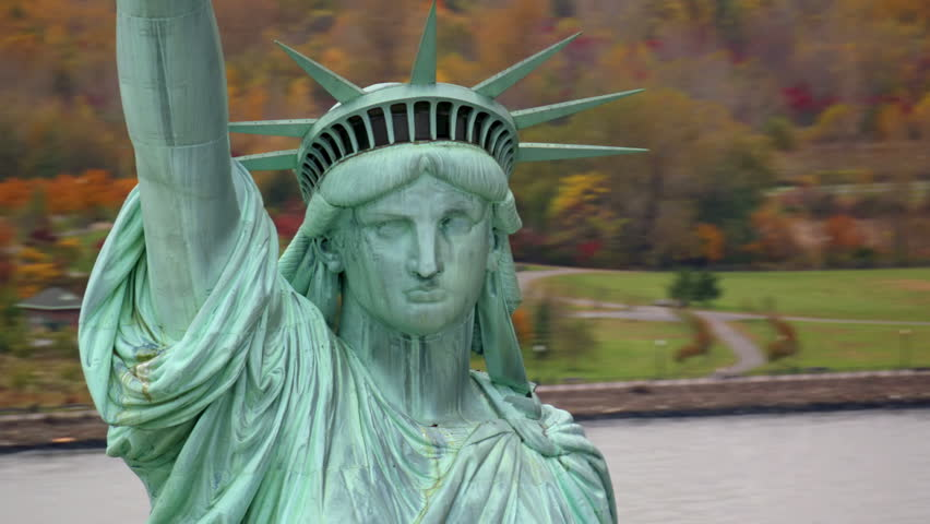 Statue of Liberty closeup, aerial shot | Shutterstock HD Video #4580093