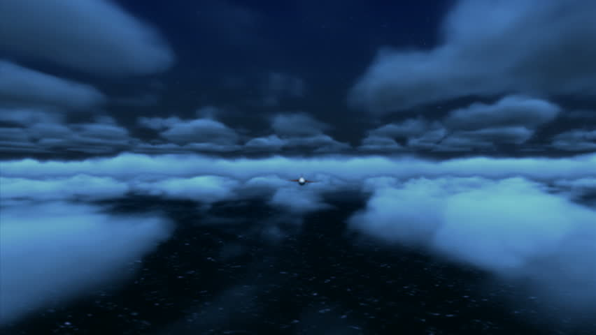 A Tomahawk Cruise Missile flying over the sea at night. High-quality detailed animation created in MAYA Autodesk.