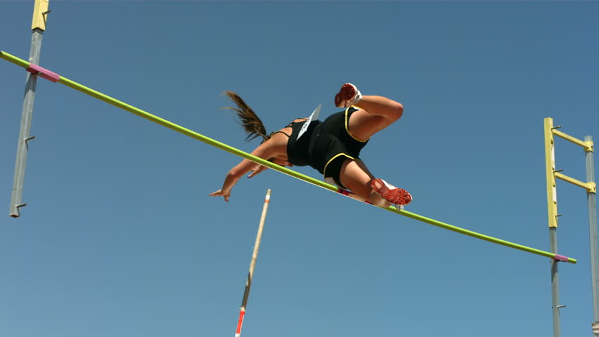 Track and Field athlete doing pole vault, slow motion #4583660