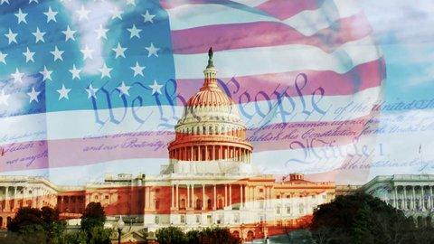 US Capitol, American Flag & Constitution
