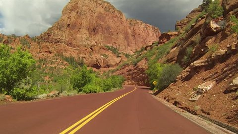 Beautiful Kolob Canyon red mountain drive Point Of View. Beautiful Kolob Canyon part of Zion National Park. Part of the Colorado Plateau, Great Basin and Mojave Desert of southwest Utah.