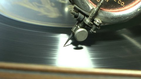 Victrola Needle    Close up of needle on a 78 Victor record playing on a Vintage Victor Victrola.