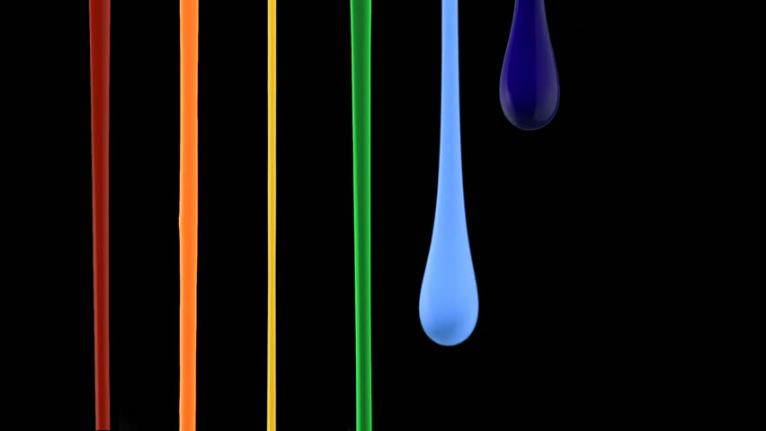 Paint dripping on black background shooting with high speed camera, phantom flex.