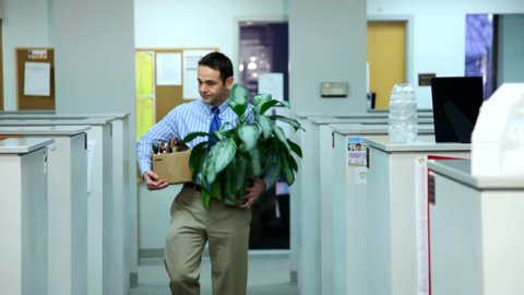 Employee leaves the office after being fired