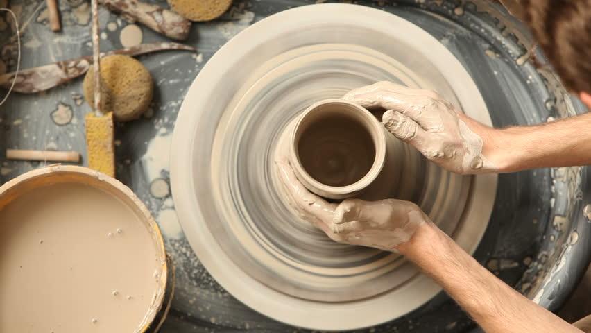 Man doing pottery