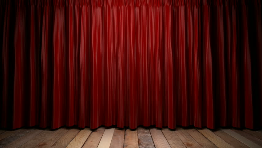 High Definition Clip Of An Opening Red Stage Curtain. Animated ...
