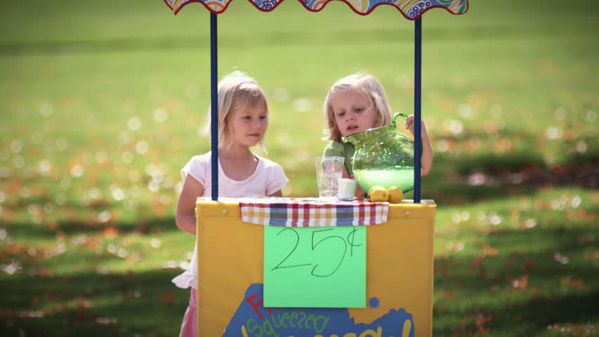 Two little girls pour and serve lemonade at their lemonade stand. wide shot. | Shutterstock HD Video #4682060