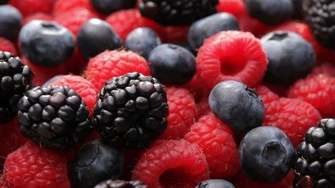 Fresh blueberries, blackberries and raspberries