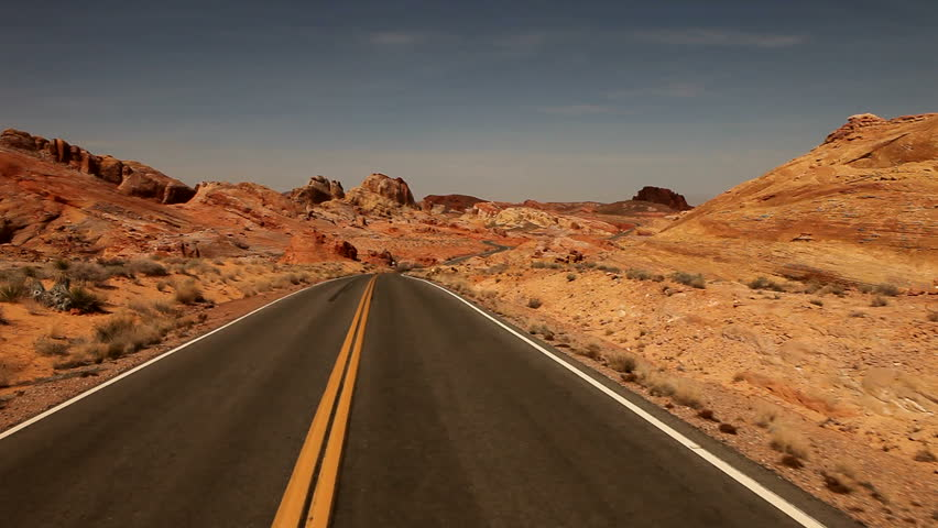 Driving Fast Through the Nevada Desert in Red Rock USA. TImelapsed.