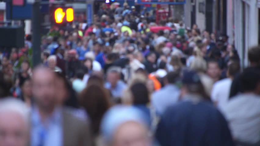 NEW YORK - CIRCA SEPTEMBER 2013: Crowd of people walking on busy street | Shutterstock HD Video #4710113