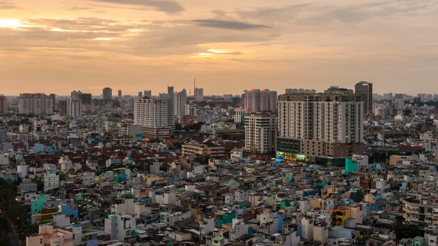 HO CHI MINH CITY - 15 SEPTEMBER: Sunset Timelapse view of Ho Chi Minh City