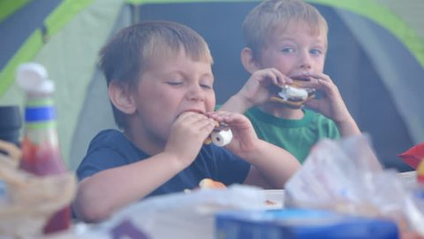 Two young boys eat smores at campground