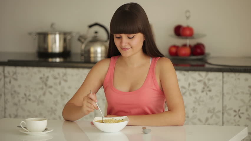 Excellent Beautiful Girl Sitting At Table Stock Footage Video 100 Royalty Free 4733720 Shutterstock Download Free Architecture Designs Embacsunscenecom
