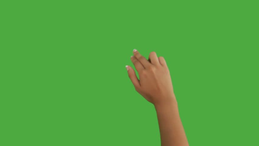 Isolated shot of a female hand on a green screen doing touch screen gestures, flicking up
