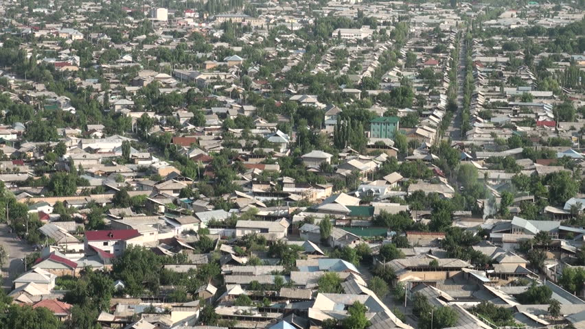 OSH, KYRGYZSTAN - 29 JUNE 2013: Overview of the streets of Osh in Southern Kyrgyzstan