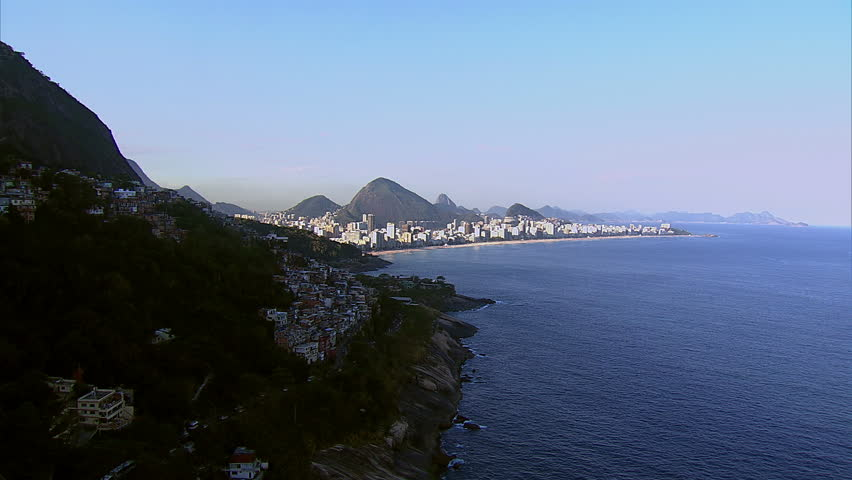 Flying around southern Rio de Janeiro, Brazil towards Ipanema Beach