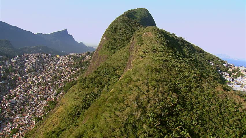 Flying up Dois Irmaos Hill overlooking Rio de Janeiro, Brazil
