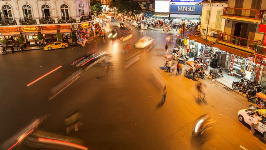 HANOI - SEPTEMBER 17: Timelapse view of crazy traffic in Hanoi Hoan Kiem