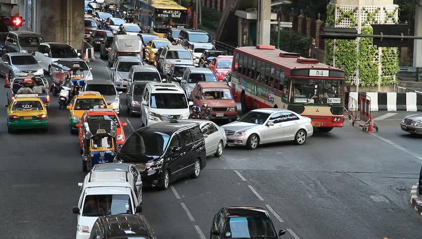 Bangkok_Dec 12, 2010 : Bangkok downtown traffic in Thailand