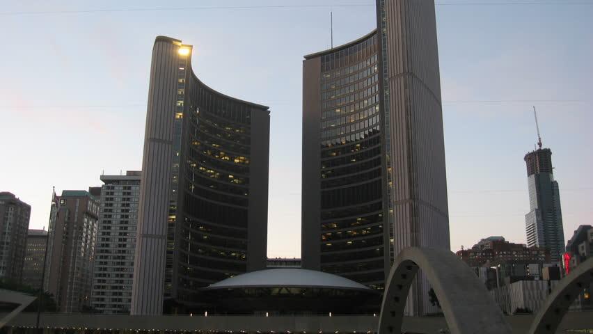 Toronto City Hall Sunset Timelapse 2. Toronto's city hall during sunset tilting