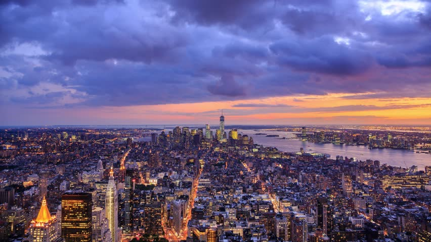 New York City Manhattan aerial panorama cityscape skyline. Transition from sunset to night. Timelapse. #4801226